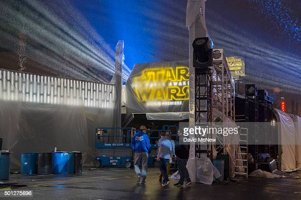 Rain falls on the entrance to the blockslong tenting set up for the premiere of Walt Disney Pictures And Lucasfilm's 'Star Wars The Force Awakens' on...