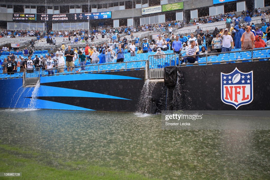 Rain falls on the field during the game between the Carolina Panthers and Jacksonville Jaguars at Bank of America Stadium on September 25, 2011 in Charlotte, North Carolina.