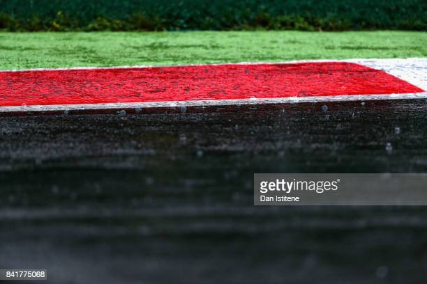 Rain falls on the track during final practice for the Formula One Grand Prix of Italy at Autodromo di Monza on September 2 2017 in Monza Italy