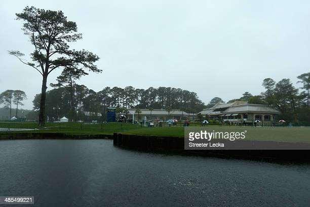 Rain falls over the club house during the second round of the RBC Heritage at Harbour Town Golf Links on April 18 2014 in Hilton Head Island South...