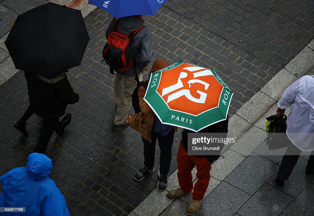 Rain halts play on day ten of the 2016 French Open at Roland Garros on May 31, 2016 in Paris, France.