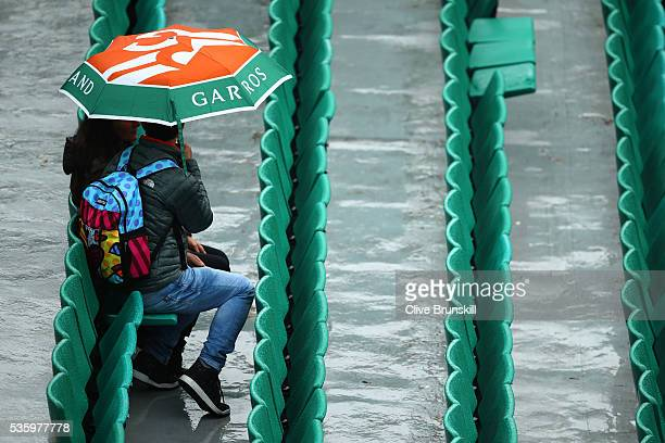 Rain halts play on day ten of the 2016 French Open at Roland Garros on May 31 2016 in Paris France