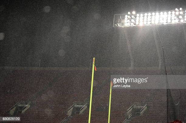 DECEMBER 25 Rain hits hard during pregame of the Denver Broncos Kansas City Chiefs game December 25 2016 at Arrowhead Stadium