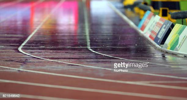 Rain on Track during World Para Athletics Championships at London Stadium in London on July 23 2017