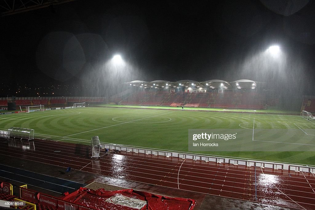 Rain pours before the FA Cup with Budweiser first round replay match between Gateshead and Oxford United at Gateshead International Stadium on...