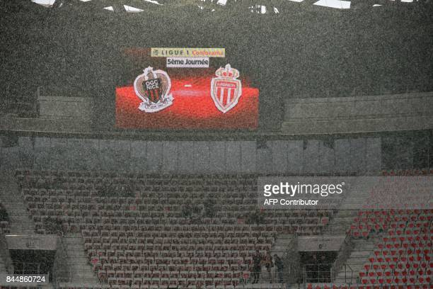 Rain pours over the Allianz Riviera stadium prior to the French L1 football match Nice vs Monaco on September 9 2017 in Nice southeastern France...