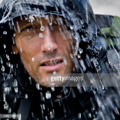 Rain Soaked Hiking Adventurer