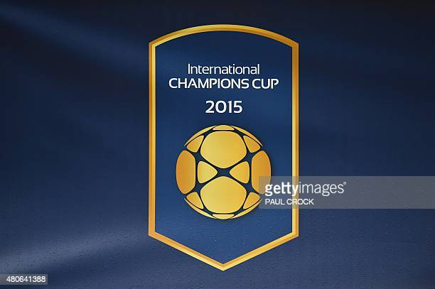 A rain soaked International Champions Cup football tournament logo is pictured in Melbourne on July 14 2015 AFP PHOTO / PAUL CROCK IMAGE RESTRICTED...
