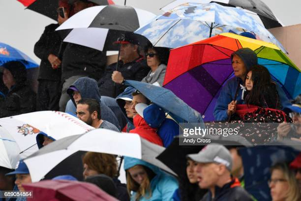 Rain started coming down hard at the start of Colorado State 5A championship game featuring the Rocky Mountain Lobos and the Broomfield Eagles at...