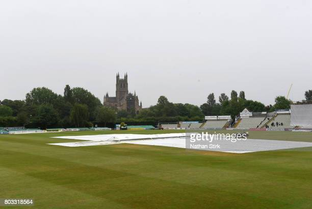 Rain stops play at New Road during the tour match between England Lions and South Africa A at New Road on June 29 2017 in Worcester England