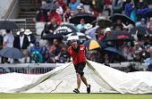Rain stops play during day three of the 2nd Investec Test between England and Pakistan at Old Trafford on July 24 2016 in Manchester England