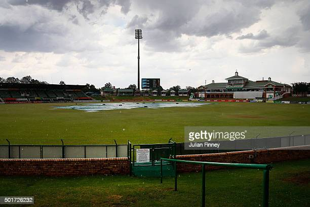 Rain stops play during day three of the tour match between South Africa Invitational XI and England at Senwes Park on December 17 2015 in...