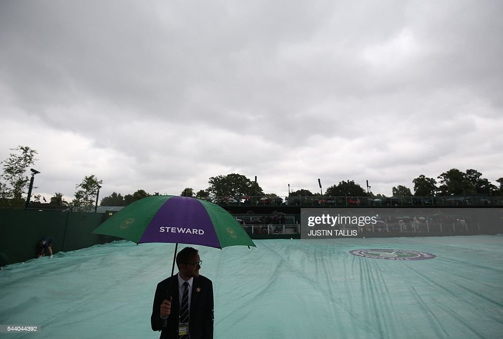 Rain stops play on court 12 on the fifth day of the 2016 Wimbledon Championships at The All England Lawn Tennis Club in Wimbledon, southwest London, on July 1, 2016. / AFP / JUSTIN
