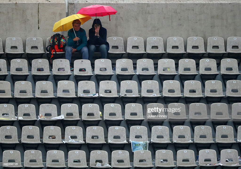 Rain stops play on day eight of the 2016 French Open at Roland Garros on May 29, 2016 in Paris, France.