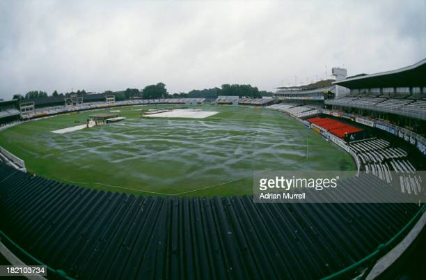 Rain stops play on the fifth day of the Rest Of The World X1 v MCC Bicentenary Match at Lords Cricket Ground London August 1987