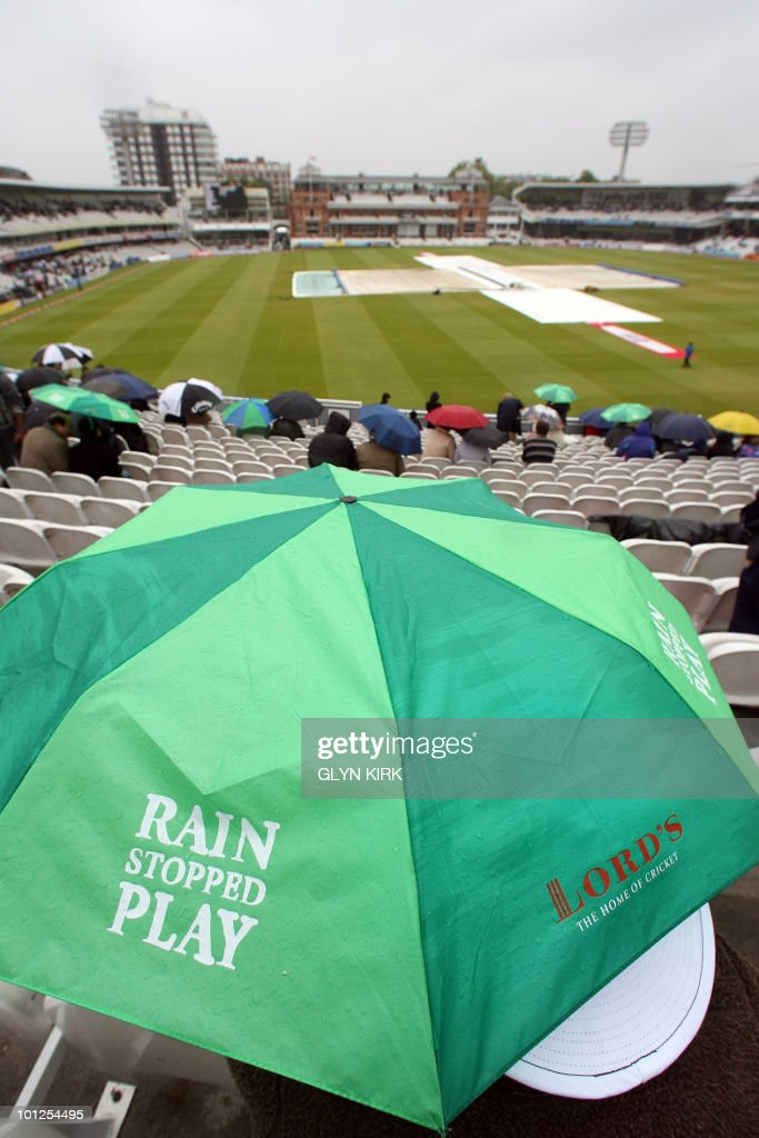 Rain stops play on the third day of England's first Test match against Bangladesh at Lord's Cricket Ground in London, England on May 29, 2010.