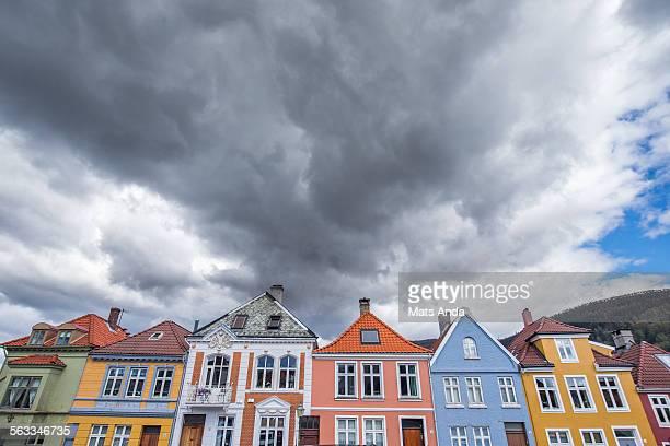 Rain storm coming in over Bergen, Norway.