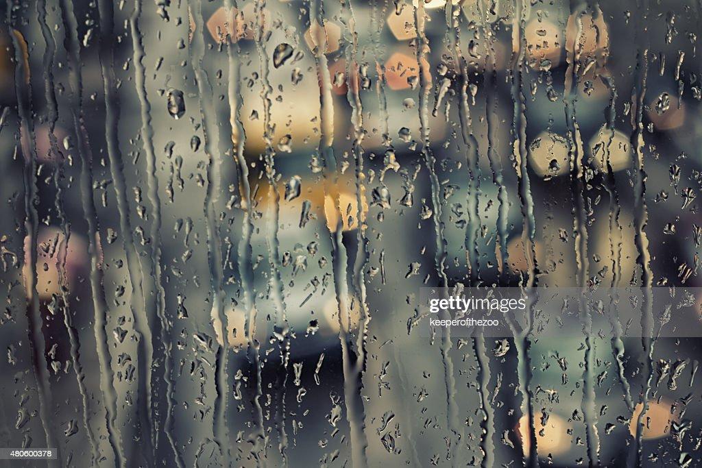 Rain Streaked Window : Stock Photo