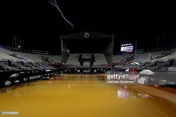 Rain suspends play during the Rio Open at Jockey Club Brasileiro on February 15 2016 in Rio de Janeiro Brazil