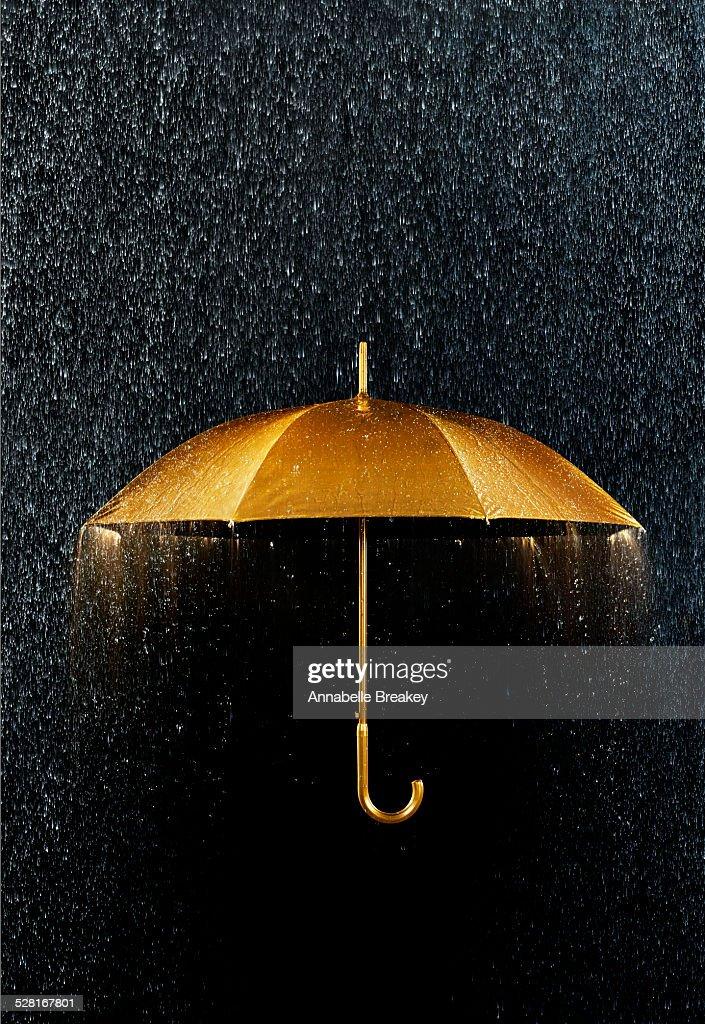 Rain with Gold Umbrella