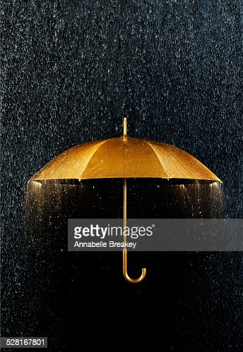Rain with Gold Umbrella