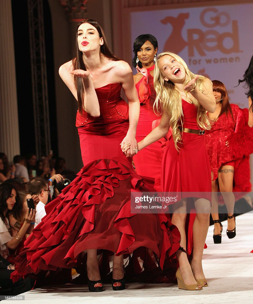 Raina Hein and Kaylyn Slevin attend the 2013 Los Angeles Fashion Week - Go Red For Women Red Dress Fashion Show held at the Vibiana on March 14, 2013 in Los Angeles, California.
