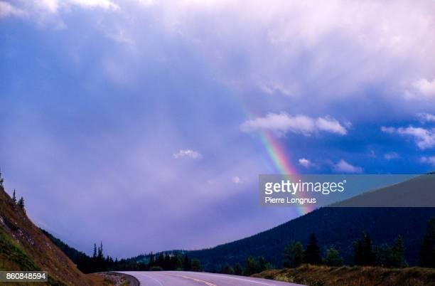 Rainbow after thunderstorm over the Klondike highway going south towards Skagway - Alaska. Yukon Territory