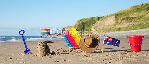 c304bf46f0a52 Rainbow Y Australian Flag Playa Centro De Costos Horquillas Gorro ...