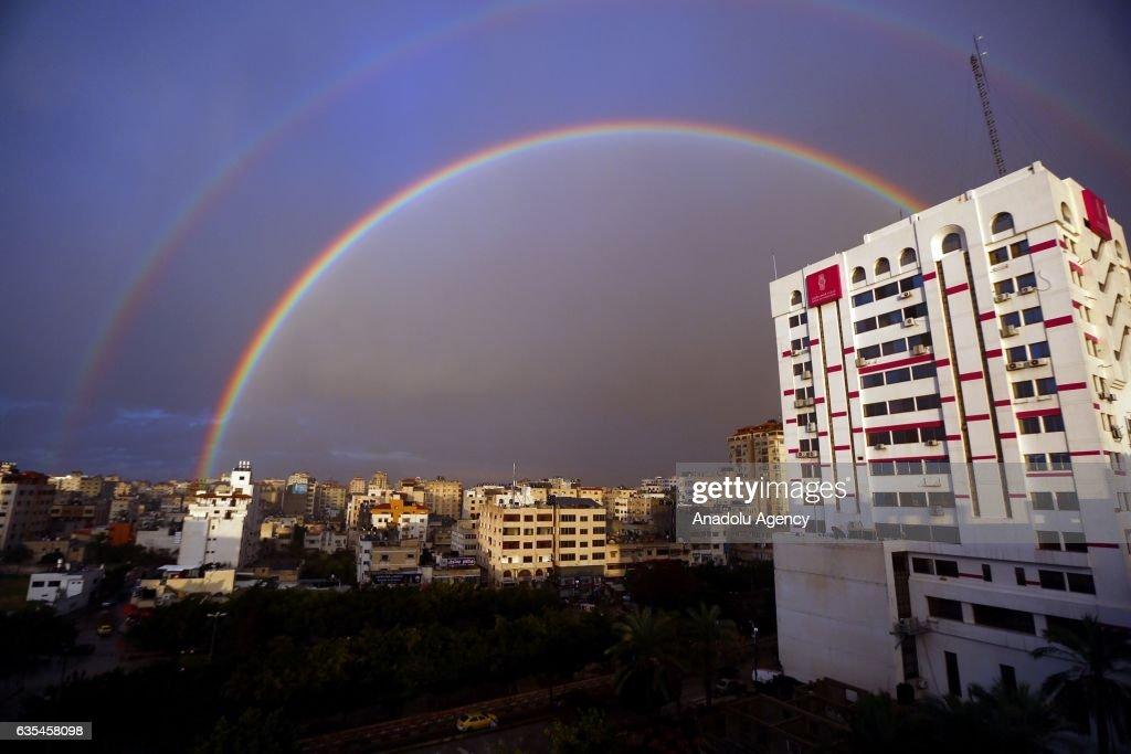 A rainbow appears after a rainfall over Gaza City, Gaza on February 15, 2017.