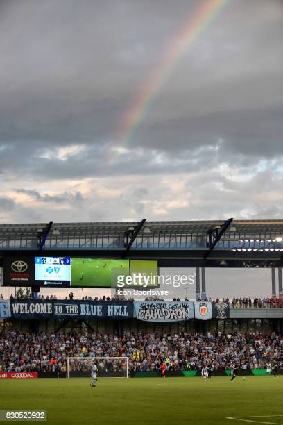 A rainbow appears over Children's Mercy Park in the first half of the Lamar Hunt US Open Cup semifinal between the San Jose Earthquakes and Sporting...
