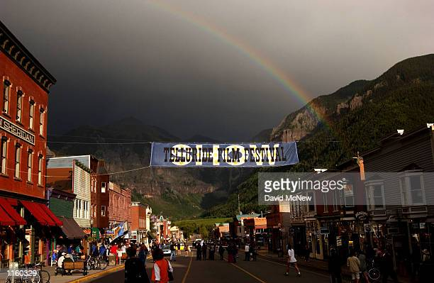 A rainbow appears over downtown during the 28th Telluride Film Festival September 1 2001 in Telluride CO