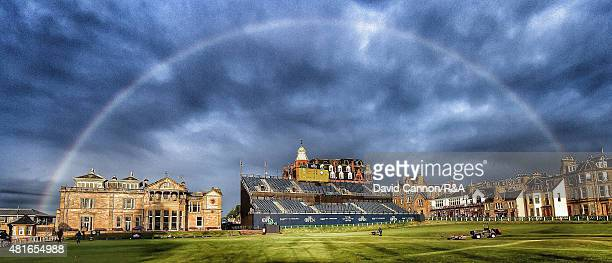 A rainbow appears over the 18th green and the RA Clubhouse shortly after play had finished during the third round of the 144th Open Championship at...
