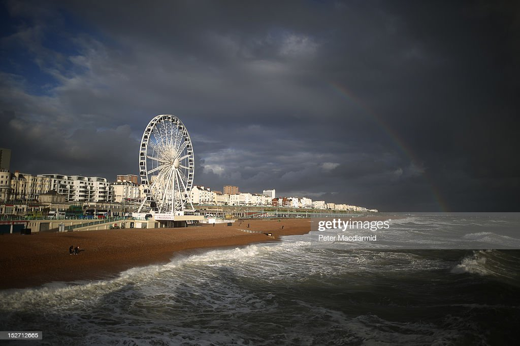 A rainbow appears over the sea-front on September 24, 2012 in Brighton, England. High winds and some flooding has hit parts of the United Kingdom.
