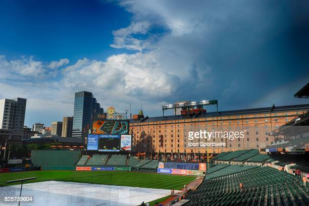 A rainbow appears over the warehouse after a rain storm in a 20 frame High Dynamic Range image prior to the MLB game between the Kansas City Royals...