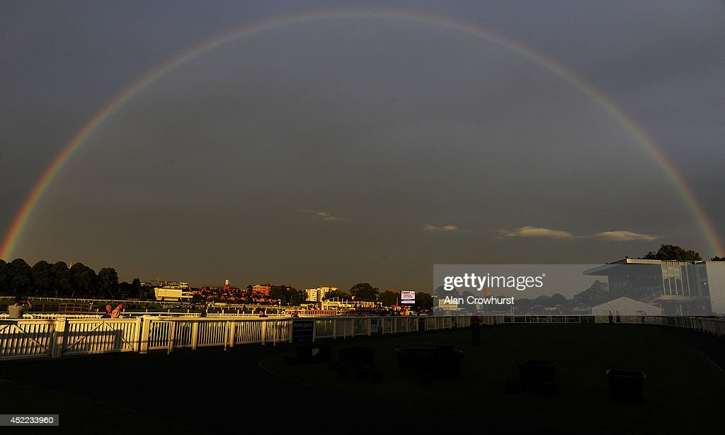 A rainbow arches across the track at Worcester racecourse on July 16, 2014 in Worcester, England.