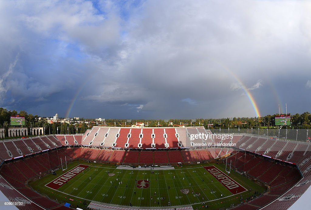 A rainbow arches over Stanford Stadium prior to an NCAA football game between the Rice Owls and Stanford Cardinal at Stanford Stadium on November 26, 2016 in Palo Alto, California.