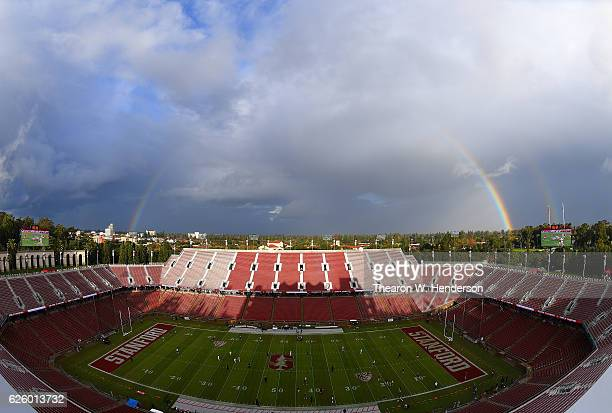 A rainbow arches over Stanford Stadium prior to an NCAA football game between the Rice Owls and Stanford Cardinal at Stanford Stadium on November 26...
