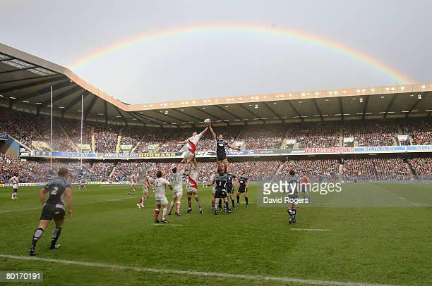 A rainbow arches over the stadium during the RBS Six Nations Championship match between Scotland and England at Murrayfield on March 8 2008 in...