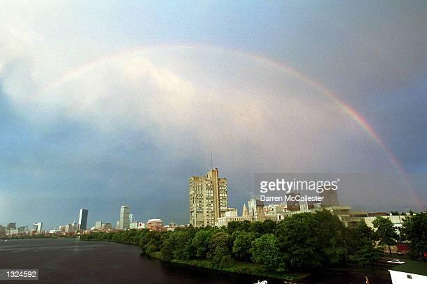 A rainbow arcs over the skyline of Boston University July 10 2001 in Boston MA