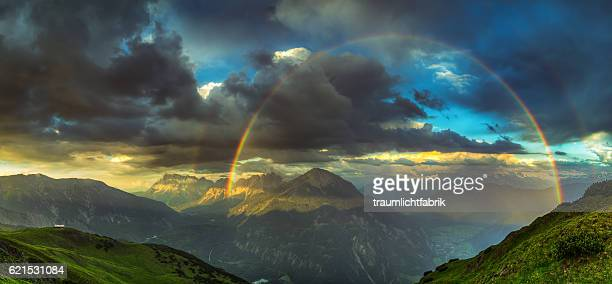 Rainbow at sunset with Zugspitze View