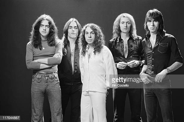 Rainbow guitarist Ritchie Blackmore bassist Jimmy Bain singer Ronnie James Dio keyboard player Tony Carey and drummer Cozy Powell British rock band...