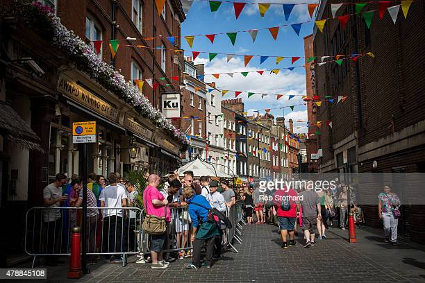 Rainbow bunting is seen above a gay bar in Soho after the annual Pride in London Parade on June 27 2015 in London England Pride in London is one of...