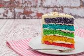 Slice of Rainbow sponge cake