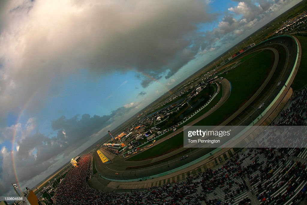 A rainbow can be seen over Homestead-Miami Speedway during the NASCAR Sprint Cup Series Ford 400 on November 20, 2011 in Homestead, Florida.