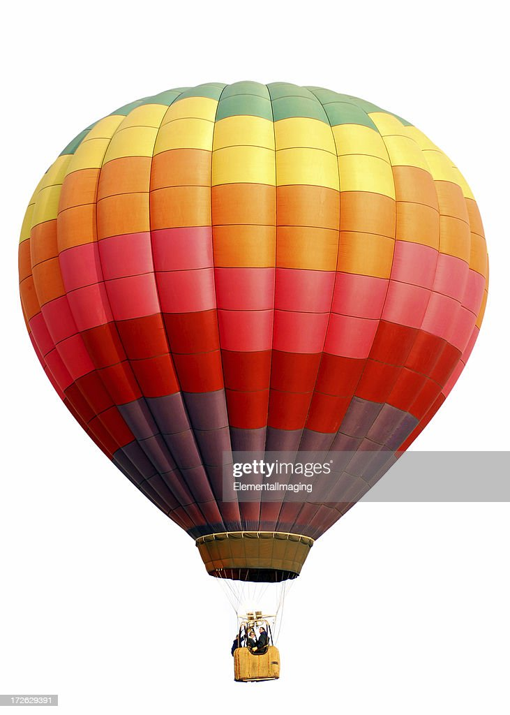 Rainbow Checkered Hot Air Balloon Isolated on White : Stock Photo