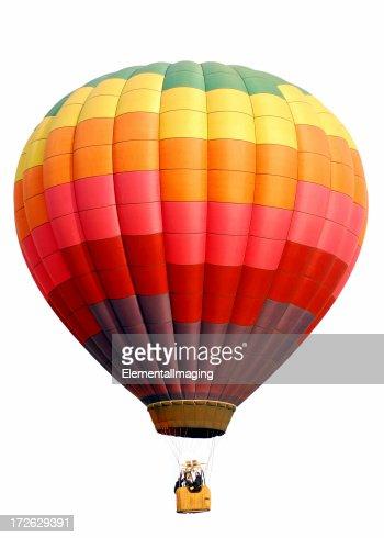 Rainbow Checkered Hot Air Balloon Isolated on White