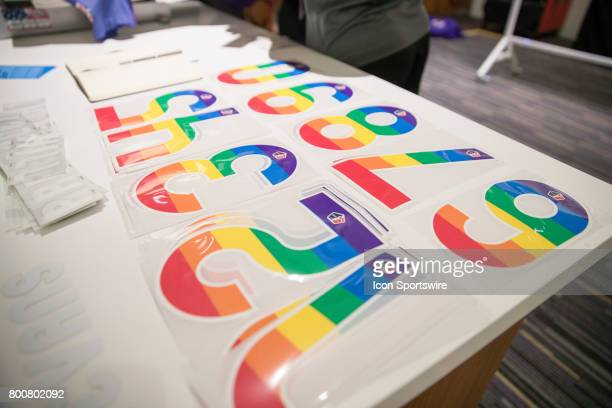 Rainbow colored jersey numbers to be put on Pride uniforms in support of equality and worn during the NWSL soccer match between the Houston Dash and...