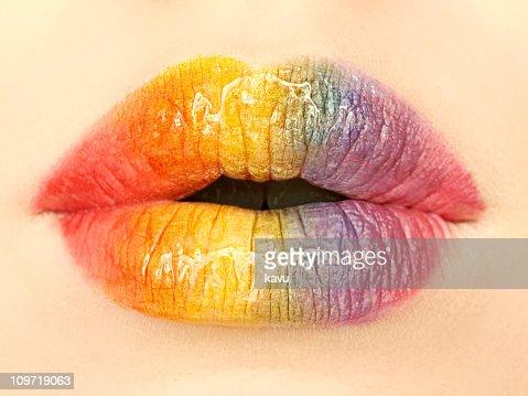 Rainbow Colored Lips : Stock Photo