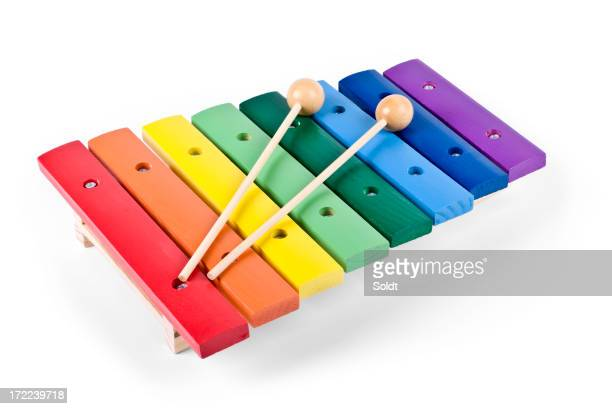 Wooden Rainbow Xylophone Sticks ~ Xylophone stock photos and pictures getty images