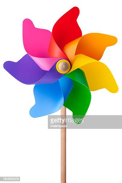 Rainbow colored wooden and plastic pinwheel